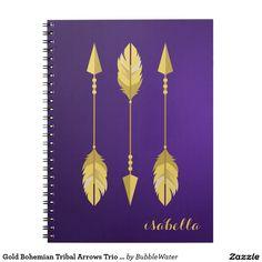 Gold Bohemian Tribal Arrows Trio Purple Gradient Spiral Notebook