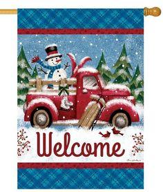 Custom Decor Flag - Winter Truck Decorative Flag at Garden House Flags Christmas Crafts, Christmas Decorations, Christmas Ornaments, Holiday Decor, Christmas Scenes, Christmas Ideas, Christmas Snowman, Christmas Farm, Christmas Placemats