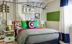 The girls from J and J Design Group are back with another amazing room design. Check out this modern super hero kids room and coordinating bathroom!