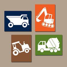 CONSTRUCTION Wall Art, CANVAS or Prints, Dump Truck Pictures, Tractor, Big Boy Bedroom, Baby BOY Nursery,Transportation Theme Set of 4 Decor