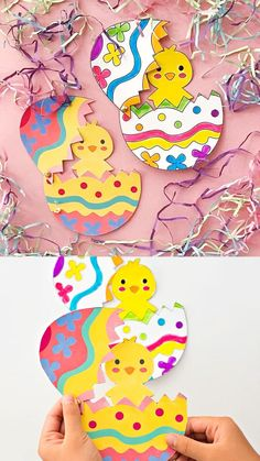 Hatching Chick Craft With Coloring Template these make cute Easter cards from kids! Kids Create Hatching Chick Craft With Coloring Template these make cute Easter cards from kids! Egg Crafts, Easter Art, Bunny Crafts, Easter Crafts For Kids, Toddler Crafts, Paper Crafts, Diy Crafts For Kids, Kids Diy, Decor Crafts