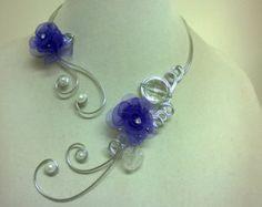 Bijoux de mariage, bijoux de mariage violet, bijoux de demoiselle d'honneur, bijoux de mariée, bijoux Design, bijoux de fleurs violettes, collier ouvert
