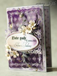Spellbinders - Radiant Rectangles, Ewa Jarlińska, Złote Gody, flourish die,tattered flowers tim holtz
