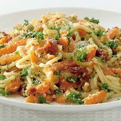 vegetarische spaghetti carbonara (mag eigenlijk niet zo genoemd worden)