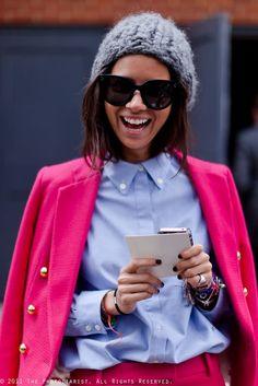 Natasha Goldenberg: That Pink Suit! Mode Style, Style Me, Celine, Pink Suit, Autumn Winter Fashion, Winter Wear, Fashion Dresses, Fashion Hats, Menswear