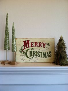 Merry Christmas Vintage Look Hand Painted Wood Sign by ASign4Life