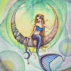 Watercolor Art Paintings, Original Paintings, Watercolor Paper, Mermaid Poster, Mermaid Artwork, Mermaid Paintings, Mermaid Photos, Mermaid Drawings, Moon Illustration