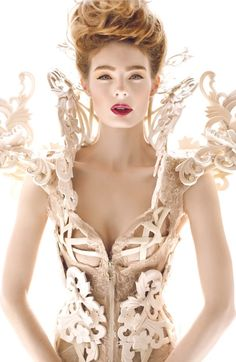 Alexander McQueen ♥ Not really one for shoulder pads, but somehow, this works! corsets, #waistedfineries
