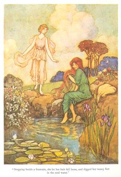 """""""Stopping beside a fountain, she let her hair fall loose, and dipped her weary feet in the cool water."""" Illustration by Warwick Goble for """"The Blue Bird"""", 1923. From 'The Fairy Book' by Dinah Maria Mulock."""
