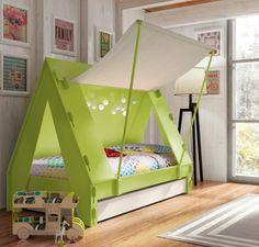 тематические детские кровати в виде палатки с дополнительными отделениями ниже / - головку-кровать для ночевки