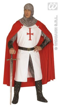 DIY Knight costume insiration : cloak, silver shirt, belt, tunic (with a lion instead of a cross, optional boots & leggings