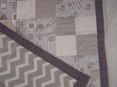 Baby Quilt Gray Zoo Animals Chevron Blanket by TwistedTreeKnitting