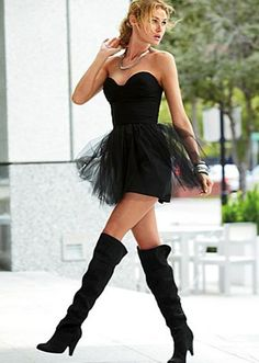 tulle and thigh boots