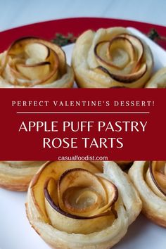 Bring the flavors of your favorite apple pie with these apple almond puff pastry rose tarts. With puff pastry and almond paste thise recipe shows you how to make stunning apple puff pastry dessert at home. |Apple Dessert Ideas | East Puff Pastry Dessert | Puff Pastry Recipe Ideas | Apple Dessert Recipes| Easy Apple Dessert| Valentine's Dessert idea |