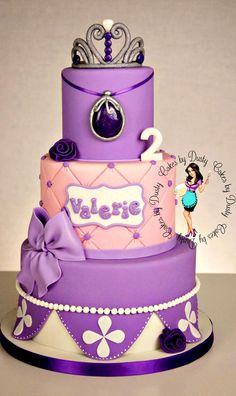 princesa Sofia niña the First Cake Princess Sofia Cake, Princess Sofia Birthday, Sofia The First Birthday Party, First Birthday Cakes, 3rd Birthday, Birthday Ideas, Dusty Cake, Violetta Cake, Bolo Sofia