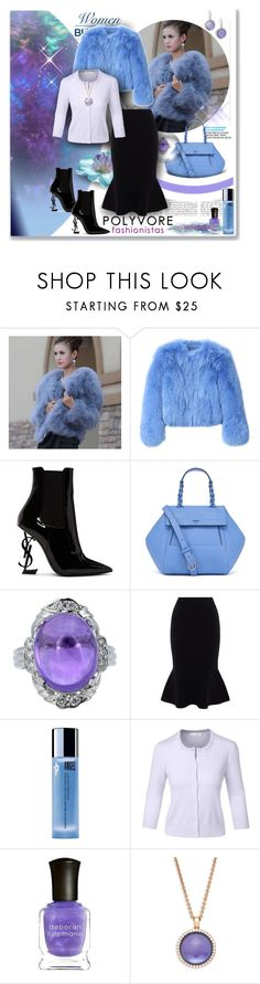 """""""CORNFLOWER PLUSH"""" by angelflair ❤ liked on Polyvore featuring G.V.G.V., Yves Saint Laurent, Tory Burch, Karen Millen, Thierry Mugler, LE3NO, Deborah Lippmann and Roberto Coin"""