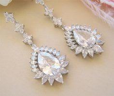 Crystal Teardrop Bridal Earrings CZ Wedding Earrings Bridal Jewelry Wedding Jewellery