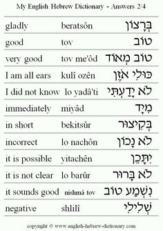 Hebrew to English and English to Hebrew                                                                                                                                                      More