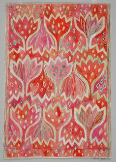 Designarkivet - Ann-Mari Forsberg, Design for tapestry Röd Crokus, 1945 AB Märta Måås-Fjetterström