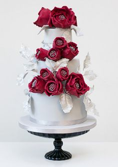 Sleeping Beauty Red Roses 3 Tier Wedding Cake