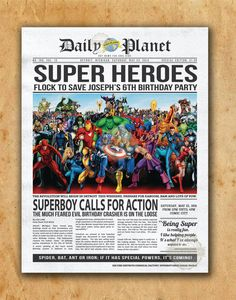 Superhero Newspaper Boys Birthday Invitation by PaperandPomp, $22.50