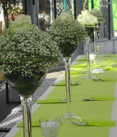 Edle Tischdeko in grün/weiß