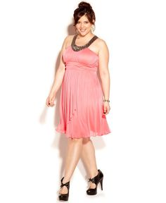 Trixxi Plus Size Dress, Sleeveless Beaded Empire - Junior Plus Dresses - Plus Sizes - Macys evening gown. formal occasions, prom