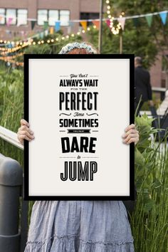 """Inspirational Quote Motivational Typography Print Art Wall Decor """"Dare to Jump"""" Poster Sign Subway Art"""