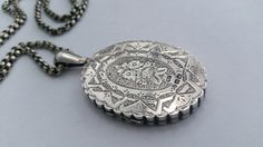 Victorian Large Silver Locket & Chain  by LittleVintageCharmCo