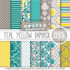 Teal Yellow and Gray Grey Damask Digital Paper by LagartixaShop