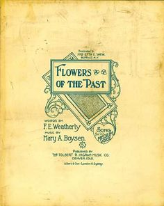 Sheet Music - Flowers of the past