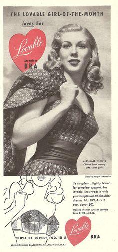 Lovable strapless bras (1949)