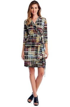 Karen Kane Abstract Plaid Faux Wrap Dress at Nordstrom.com. A matte-jersey dress styled with a surplice bodice and cascading skirt panel boasts a brushstroke plaid in a rich palette that will transition perfectly into fall. A sash wrapping the waist accentuates the figure-flattering style.