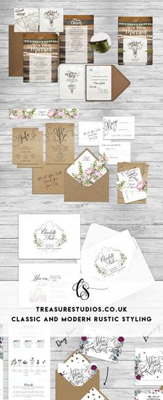 There's a lot of rustic styles out there - which one are you? Let us help you make the perfect wedding invitation set and find your own rustic style. Wedding Invitation Sets, Wedding Sets, Gold Wedding, Wedding Stationery, Dream Wedding, Rustic Style, Perfect Wedding, Branding Design, Studios