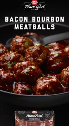 Bacon, meatballs AND bourbon? PINCH ME. Try this meaty app with BLACK LABEL® Double Smoked Bacon. | BLACK LABEL® Bacon | bacon apps | bourbon appetizers | meatballs Bacon Bacon, Smoked Bacon, Bourbon Meatballs, Smoking Recipes, 28 Days, Appetizer Dips, Everyday Food, Other Recipes, Kitchen Tips