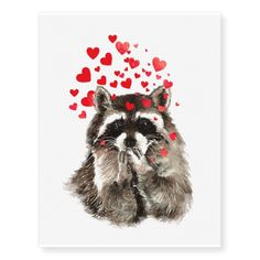 Funny Raccoon Kissing Love Hearts Temporary Tattoos | Zazzle