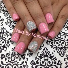 Love love love!  Pink acrylic nails #white #studs
