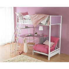 The Hyder Cosmic Blanc Loft Bed represents the most modern design features of children's beds. Bunk Beds Boys, Adult Bunk Beds, White Bunk Beds, Futon Bunk Bed, Bunk Bed With Desk, Kid Beds, Futon Chair, Futon Mattress, Sofa