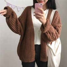 DICLOUD New Autumn Knit Sweater Women 2018 Fashion Harajuku Loose Warm Cardigan Women College Casual Long Sleeve Winter Coat You are in the right place about autumn outfits women school Here we offer Warm Outfits, Winter Fashion Outfits, Sweater Fashion, Cute Casual Outfits, Autumn Outfits, The Cardigans, Sweaters For Women, Warm Sweaters, Cheap Sweaters