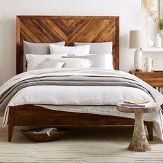 Beds/Headboards - Alexa Bed | West Elm - reclaimed pine bed, chevron wood bed, reclaimed wood bed,