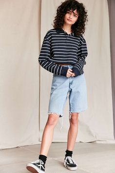Urban Renewal Recycled Cropped Long Sleeve Polo Shirt - Urban Outfitters