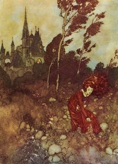 I used to meet her in the garden.  An Edmund Dulac illustration for The Wind's Tale, a story by Hans Christian Andersen