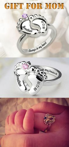 Personalized Baby Feet Ring for Mom 2019 Little feet Lots of love.Create this baby feet ring with your choice of birthstone and engraving .The best gift for mom/new mom. The post Personalized Baby Feet Ring for Mom 2019 appeared first on Baby Shower Diy. Mama Baby, Mom And Baby, Best Gifts For Mom, Mom Jewelry, Baby Keepsake, Mothers Day Crafts, Baby Feet, New Moms, Mother Day Gifts