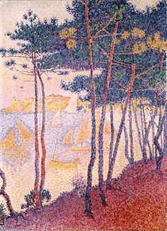 Paul Signac -Sailing boats and pine trees (1896) Source: http://www.paul-signac.org/the-complete-works.html