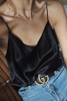 Silk cami and Gucci gg belt