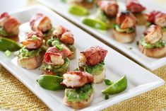 Bacon Wrapped Shrimp Appetizer With Avocado On Garlic Toast Bacon Wrapped Shrimp Appetizer With Avocado On Garlic Toast Popular Appetizers, Shrimp Appetizers, Appetizers For Party, Appetizer Recipes, Shrimp Wraps, Bacon Wrapped Shrimp, New Cooking, Finger Foods, Tapas