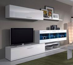 Mueble de Salón TV de blanco brillo vitrinas con leds
