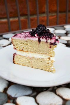 Brown Butter Cake with Mascarpone Whipped Cream and Macerated Blackberries