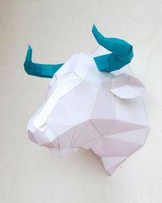 DIY Papercraft Bull Head Sculpture Pre-cut papercraft kit   Etsy Paper Glue, Paper Crafts, Diy Crafts, Bull Horns, Sculptures, Kit, Deco, Handmade Gifts, Etsy
