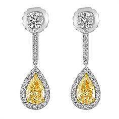Yellow Pear Shape and White Diamonds Set in Two Color Gold Dangle Earrings